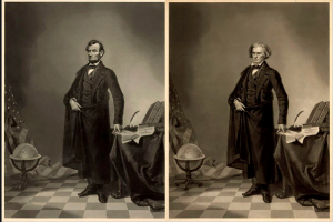 In a preview of celebrity magazine cover techniques, a popular image of Abraham Lincoln is actually his head grafted to the more majestic body of John Calhoun, a senator and vice president.