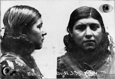 """Marie Louise Duvil, 1999 Série """"Un camp pour les bohémiens"""": Mathieu Pernot discovered the existence of an abundance of anthropometric photographs of former concentration camp inmates. The camp, located in Camargue, was a designated Gypsy internment camp and assisted in the Vichy government's propaganda. The artist's work consisted of finding survivors, then trying to retrace the history of the camp by comparing administrative sources with the living memory of former inmates. In this way the project relates living memory to archival documents and interrogates the act of reconstructing history from the point of view of those who have not written it."""