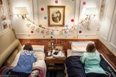 MV World Odyssey, 2016. Sydney Unger and Melanie Wilmesher made their inside double on the ship look like their home college dorm rooms at Colorado State University (CSU). Colorful polka dots brighten up the space promoting good vibes and relaxation. To them, it feels like home.