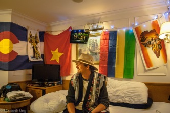 """MV World Odyssey, 2016. Peter Ahlstrand from Oregon State University was prepared to decorate his outside double room by bringing lights to hang up with his souvenirs. After every country, he adds a memory on the wall. He quotes, """"A boring room is a boring life."""""""